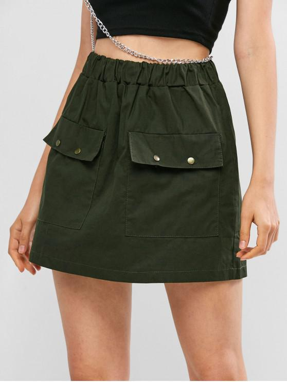 hot Solid Flap Pockets A Line Mini Skirt - GREEN M