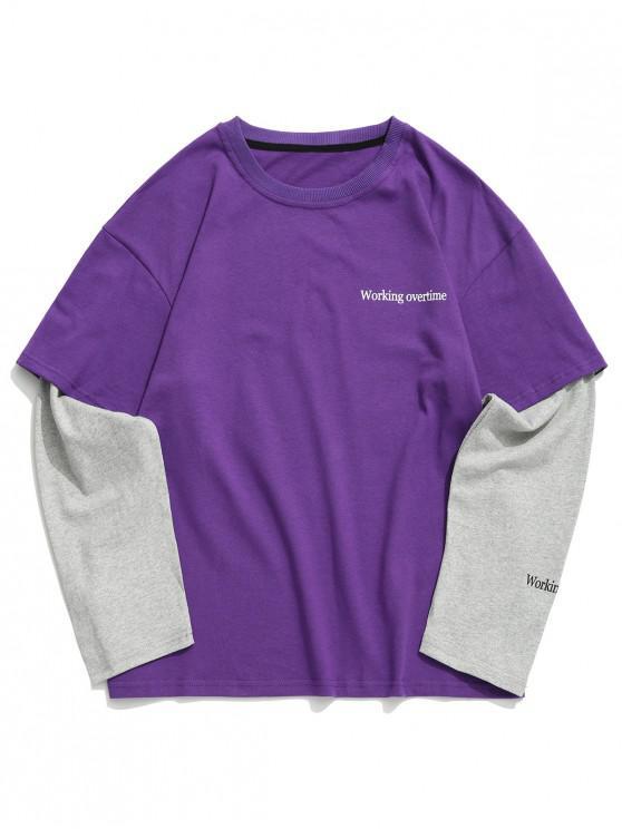 trendy Working Overtime Letter Print Faux Twinset Spliced Sweatshirt - VIOLET L