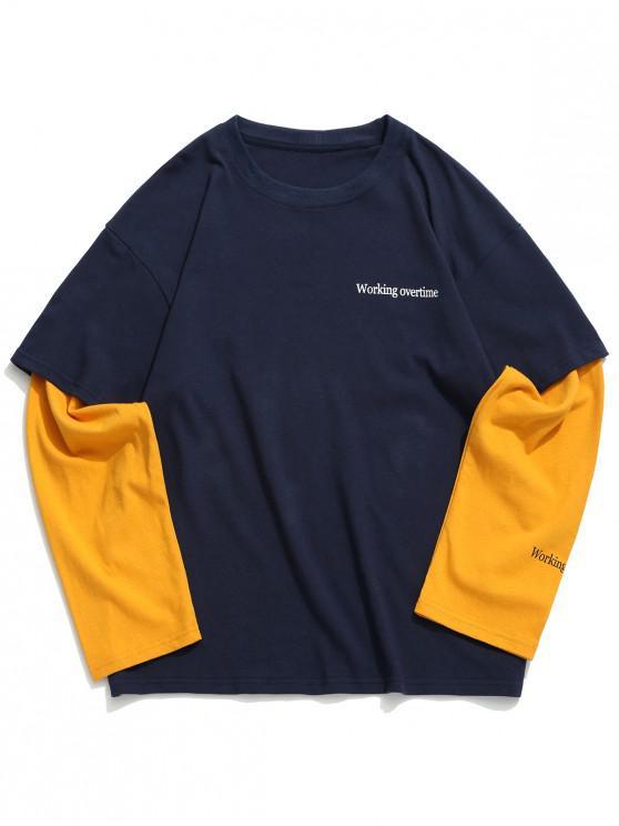 sale Working Overtime Letter Print Faux Twinset Spliced Sweatshirt - CADETBLUE L