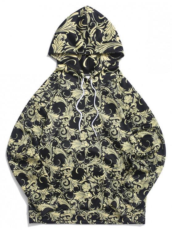 Felpa casual con cappuccio e tasca a marsupio stampa fiori allo stile barocco - Giallo Sole XL