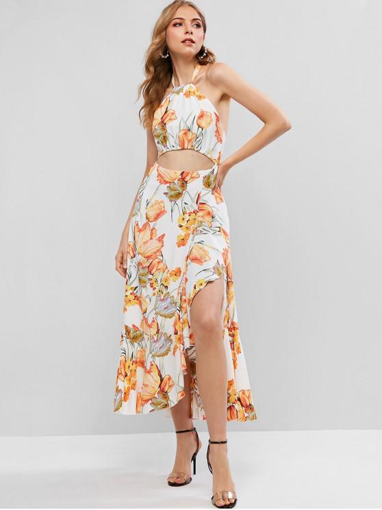 women Floral Ruffles Cut Out Maxi Dress - MULTI-A S