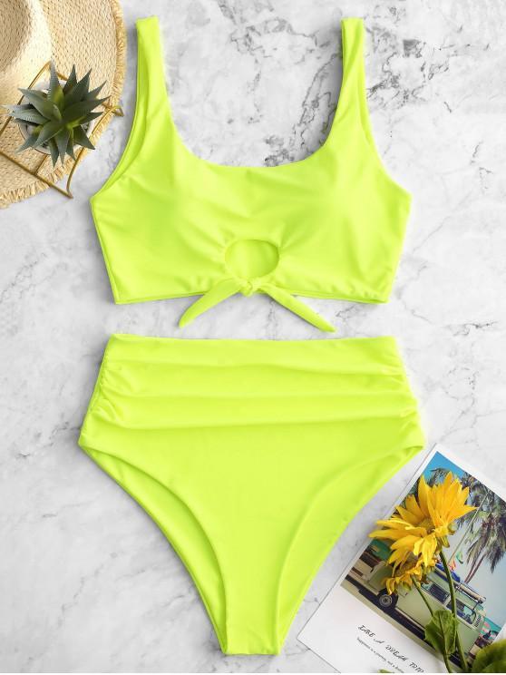 outfit ZAFUL Scooped Keyhole Tummy Control Tankini Swimsuit - GREEN YELLOW M