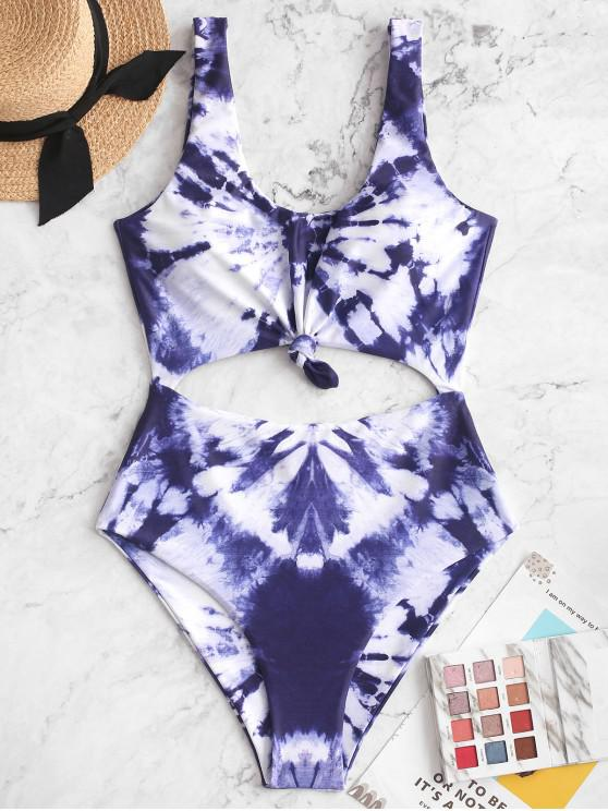 new ZAFUL Tie Dye Knotted Cut Out One-piece Swimsuit - MULTI-A S
