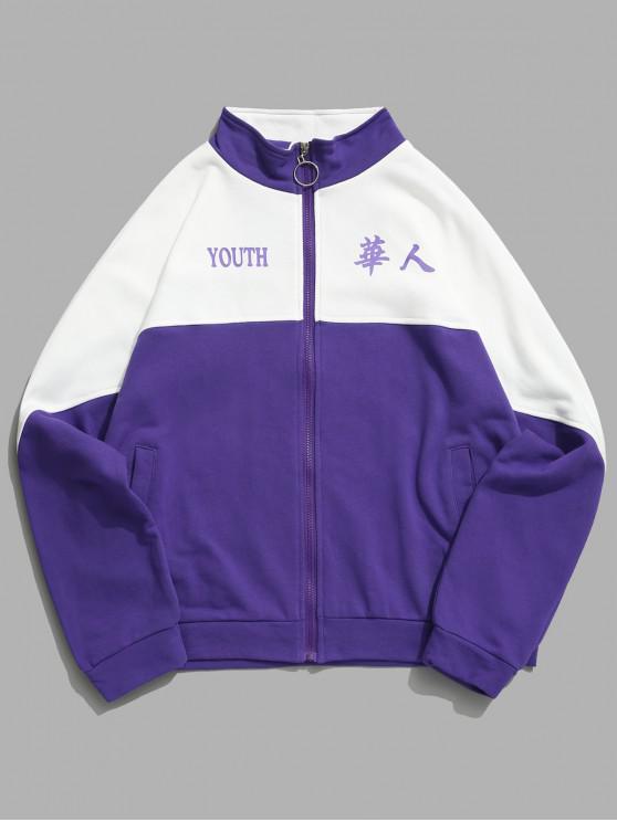 shop Youth Letter Two Tone Panel Raglan Sleeve Zipper Sweatshirt - PURPLE AMETHYST L