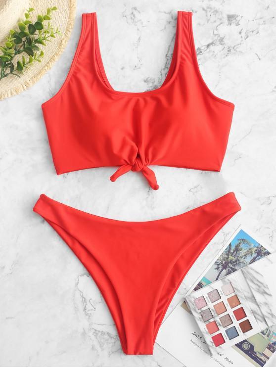 womens ZAFUL Knot High Cut Sports Bikini Swimsuit - RED S