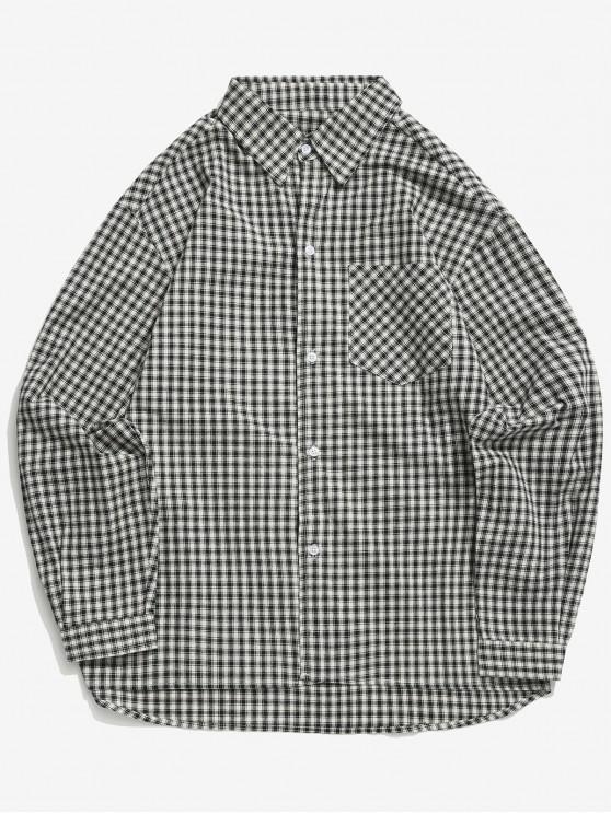 buy Plaid Print High Low Chest Pocket Button Shirt - BLACK L
