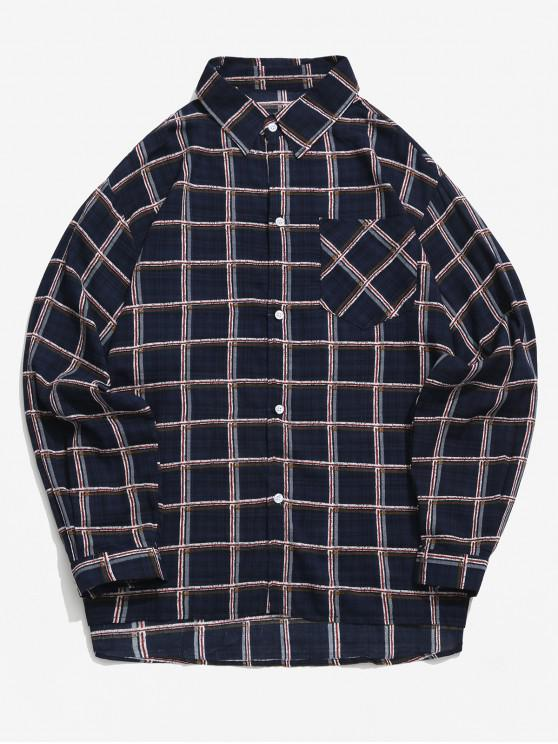 fashion Plaid Print High Low Chest Pocket Long Sleeve Shirt - DEEP BLUE XL
