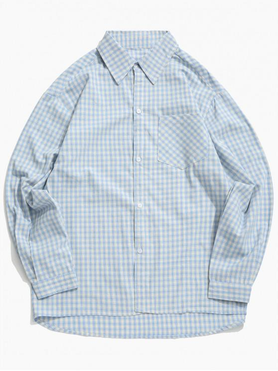 online Plaid Print High Low Chest Pocket Button Shirt - SILK BLUE 2XL