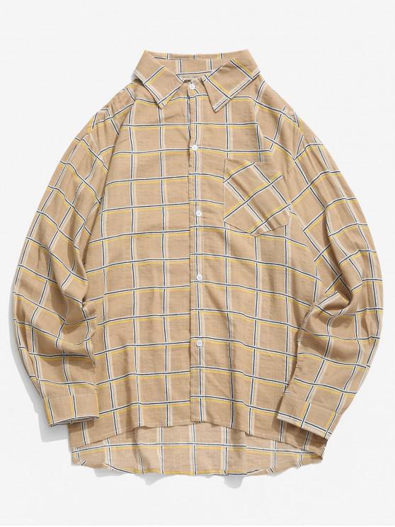 fashion Plaid Print High Low Chest Pocket Long Sleeve Shirt - GINGER BROWN XL