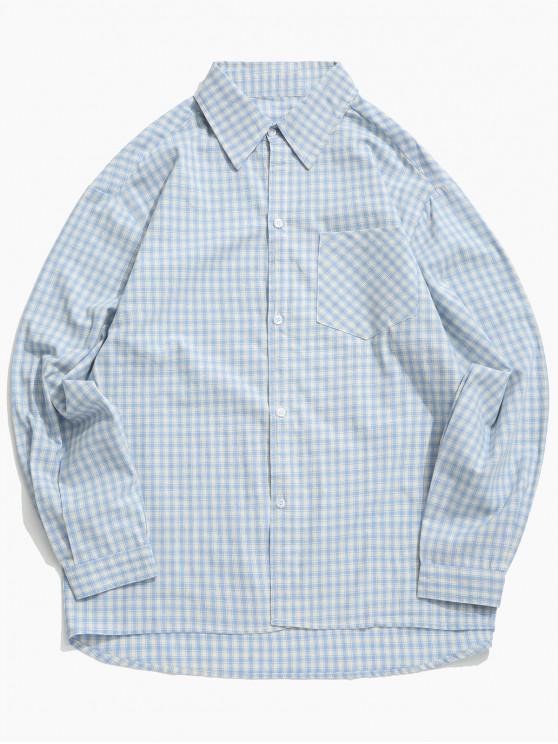 Camisa con botones a cuadros en el pecho - Azul de Seda L