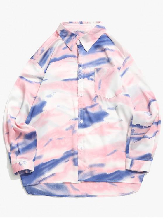 fashion Tie Dye Print High Low Chest Pocket Button Shirt - FLAMINGO PINK XL