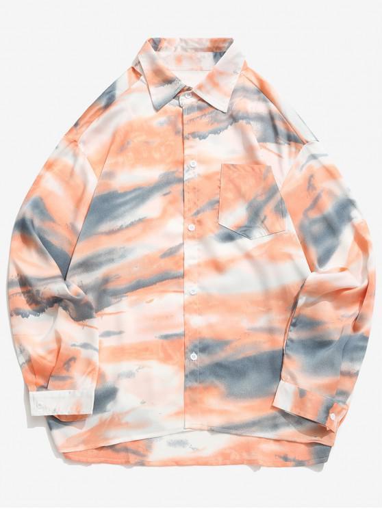 women Tie Dye Print High Low Chest Pocket Button Shirt - LIGHT SALMON 2XL