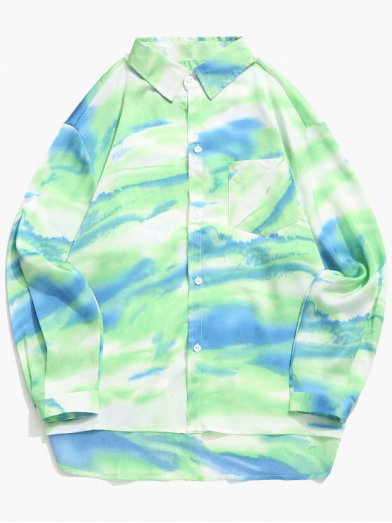 ladies Tie Dye Print High Low Chest Pocket Button Shirt - YELLOW GREEN XL