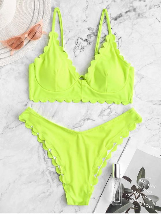 chic ZAFUL Scalloped High Cut Underwire Bikini Swimsuit - CHARTREUSE M