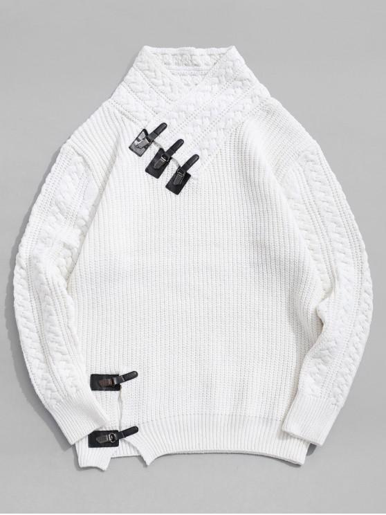 Jersey de cuello alto con cuello chal de punto sólido - Blanco XS