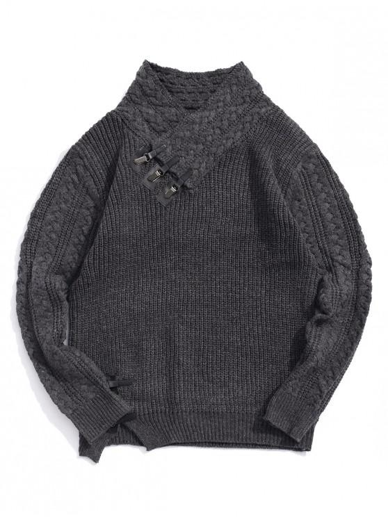 Jersey de cuello alto con cuello chal de punto sólido - Gris XS