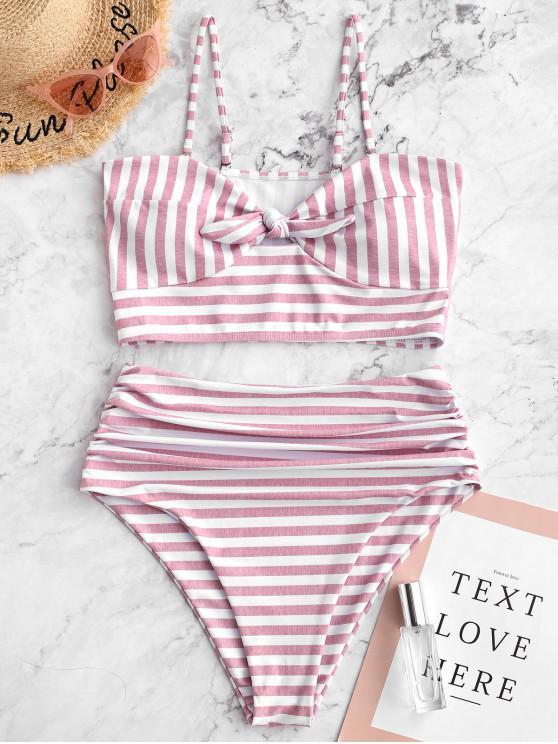 fashion ZAFUL Striped Knot Ruched Bandeau Tankini Swimsuit - PINK S