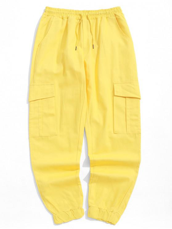 chic Solid Color Side Flap Pocket Casual Jogger Pants - YELLOW XS