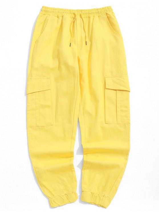 Pantalones de chándal casuales de bolsillo con solapa lateral de color sólido - Amarillo XS