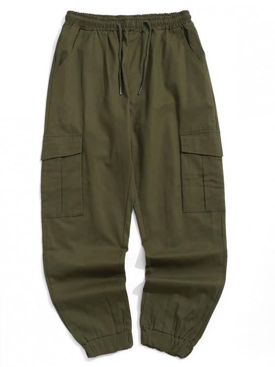 Pantalones de chándal casuales de bolsillo con solapa lateral de color sólido - Ejercito Verde M