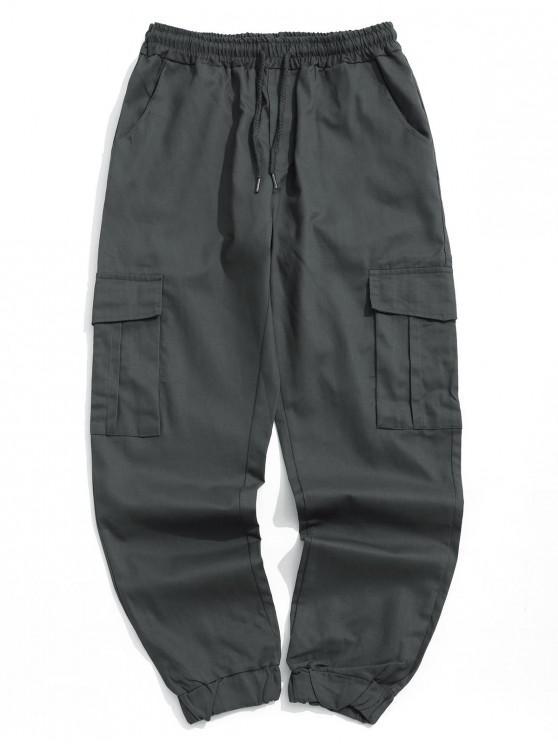 fancy Solid Color Side Flap Pocket Casual Jogger Pants - SLATE GRAY S