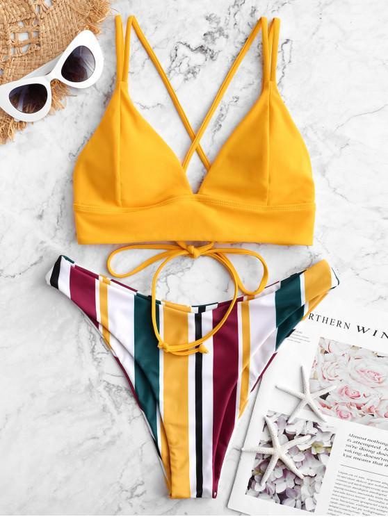 Bañador de bikini de pierna alta con múltiples rayas y cordones entrecruzados ZAFUL - Amarillo Brillante S