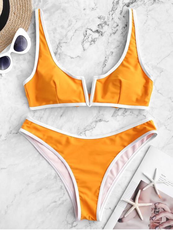 Bañador de bikini con cordón en V y ribete en contraste ZAFUL - Azafrán S