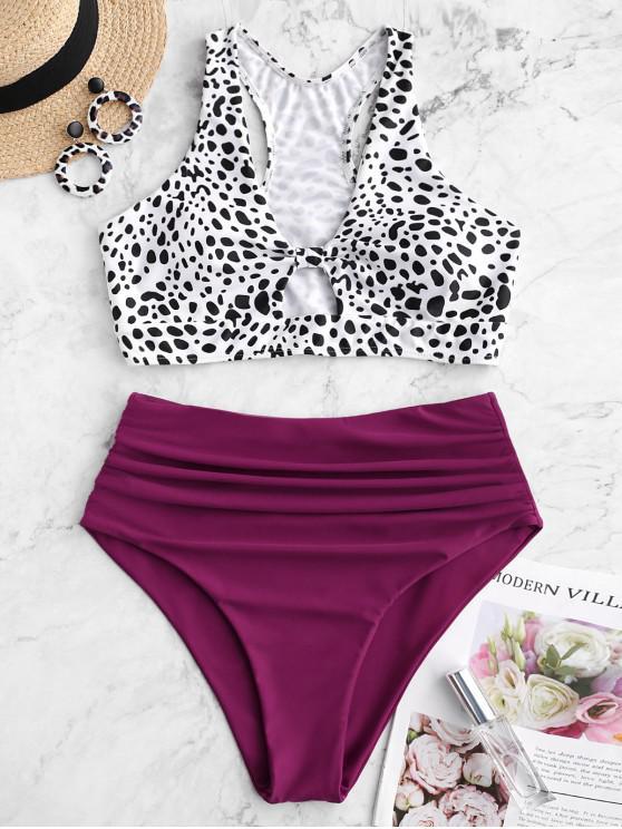 online ZAFUL Dalmatian Print Ruched Racerback Tankini Swimsuit - MAROON L