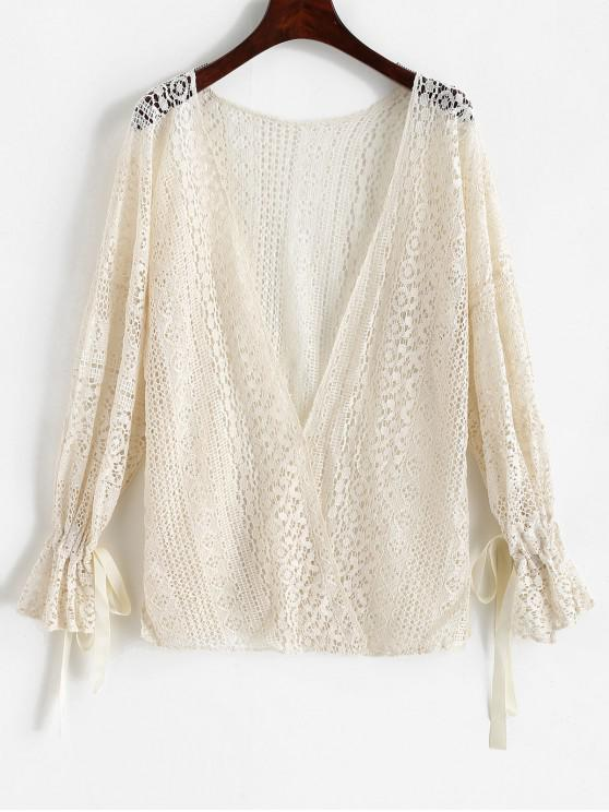 shops Drop Shoulder Poet Sleeve Collarless Crochet Cover Up - WARM WHITE ONE SIZE