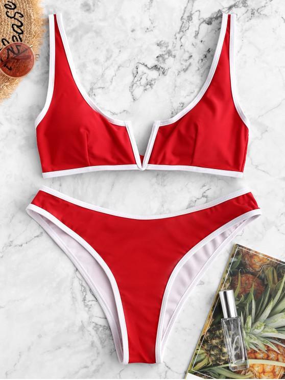 Bañador de bikini con cordón en V y ribete en contraste ZAFUL - Rojo Lava L
