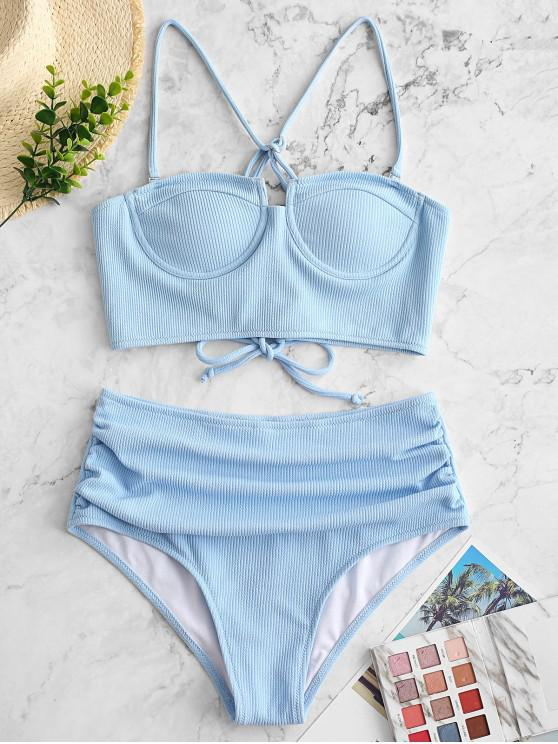 lady ZAFUL Ribbed Push Up Tummy Control Tankini Swimsuit - LIGHT SKY BLUE L