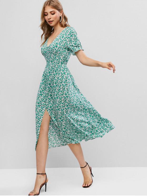 lady ZAFUL Ditsy Floral Slit V Neck A Line Dress - MACAW BLUE GREEN M