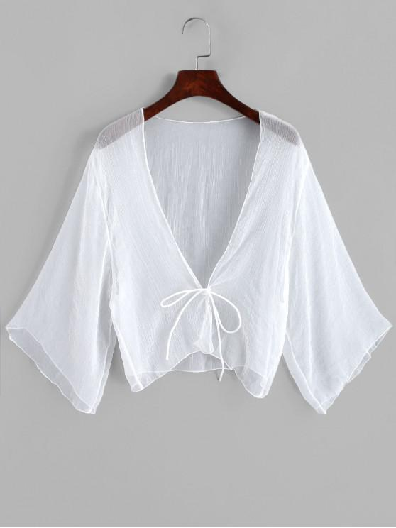 trendy Tie Front Plunging Three Quarter Sleeves Cover Up - WHITE ONE SIZE