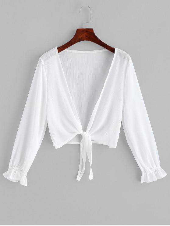 new Tie Hem Plunging Poet Sleeve Cover Up - WHITE ONE SIZE