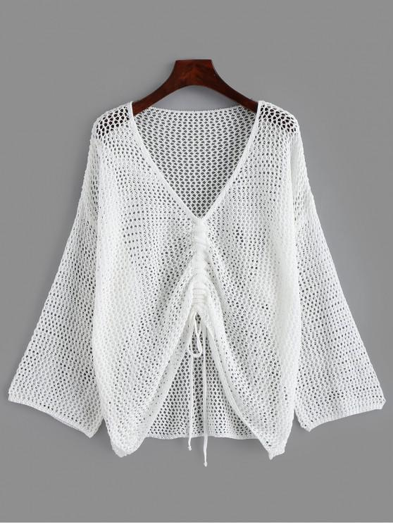 new Open Knit Drop Shoulder Cinched Cover Up - WHITE ONE SIZE