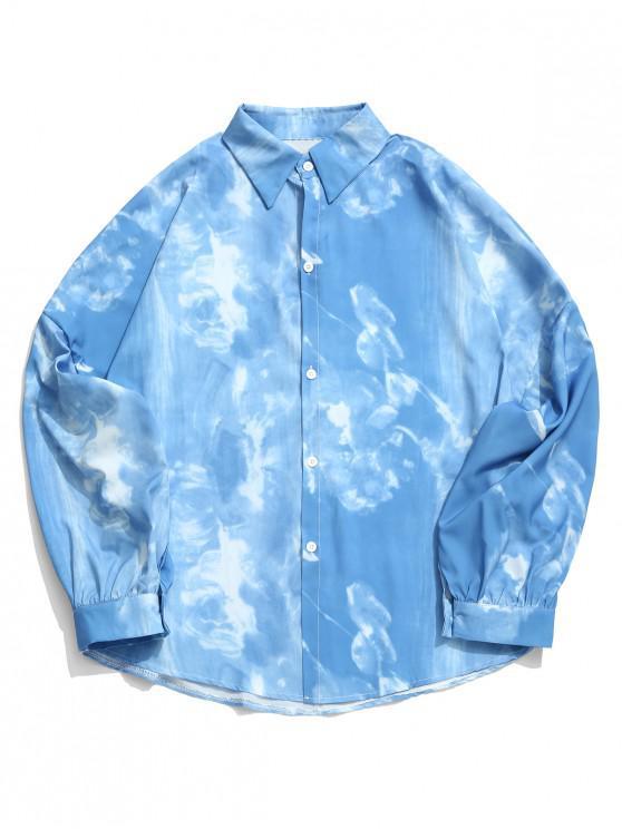 shops Tie Dye Print Drop Shoulder Loose Casual Shirt - OCEAN BLUE XL