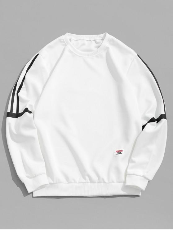 womens Striped Print Applique Casual Sweatshirt - WHITE M