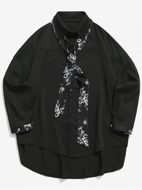 womens Floral Print Spliced High Low Drop Shoulder Shirt - BLACK XL