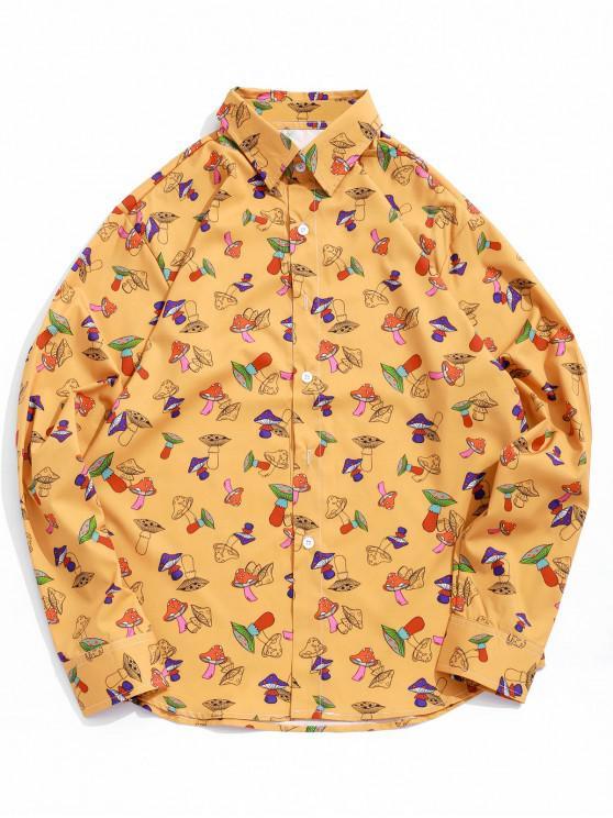 women Mushroom Print Button Up Long Sleeve Shirt - ORANGE GOLD XL