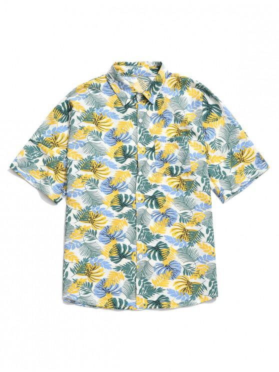 new Tropical Plant Print Chest Pocket Hawaii Vacation Shirt - WHITE L