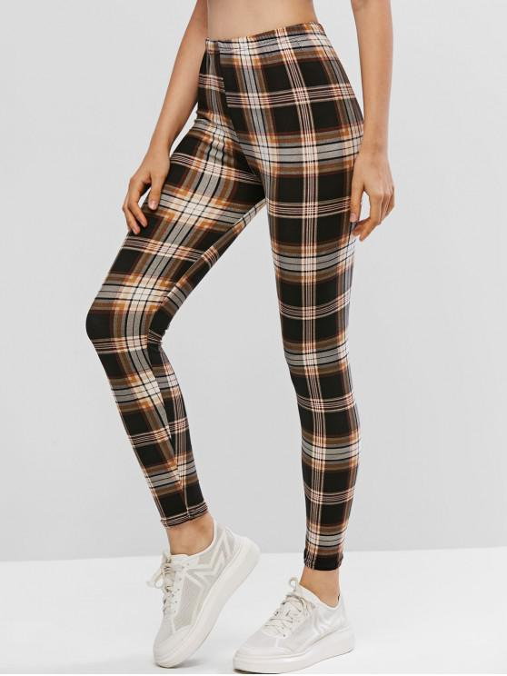 sale Pull On High Waisted Plaid Leggings - MULTI ONE SIZE