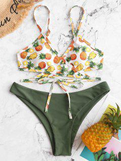 ZAFUL Pineapple Low Waisted Wrap Bikini Swimsuit - Multi-a M