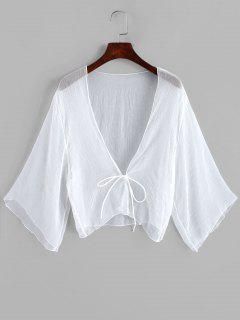 Tie Front Plunging Three Quarter Sleeves Cover Up - White