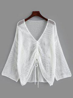 Open Knit Drop Shoulder Cinched Cover Up - White