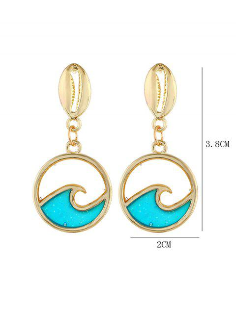 Boucles d'Oreilles Rondes Coquille Vague de Mer Pendant - Or  Mobile