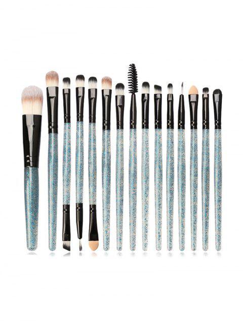 Pinceau de Poudre de Maquillage à Paillettes 15 Pièces - Bleu Vert Ara   Mobile