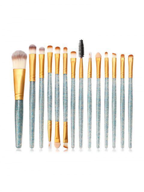 Pinceau de Poudre de Maquillage à Paillettes 15 Pièces - Turquoise Moyenne   Mobile
