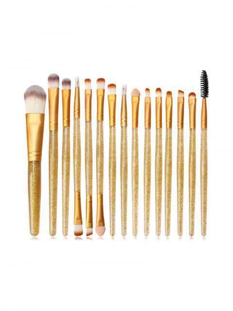 Pinceau de Poudre de Maquillage à Paillettes 15 Pièces - Brun Doré  Mobile