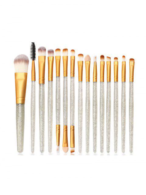 Pinceau de Poudre de Maquillage à Paillettes 15 Pièces - Or  Mobile