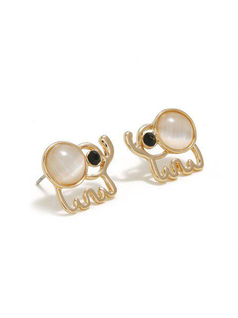 Boucles d'Oreilles Eléphant Evidées en Fausse Opale - Or  Mobile
